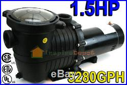 1.5 HP 5280GPH In-ground Swimming Pool Pump with Strainer UL LISTED Single Speed