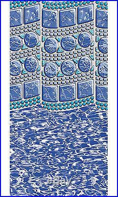 24' Ft Round Swirl Tile Above Ground Overlap Swimming Pool Liner-25 Gauge
