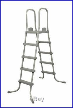 Bestway 58337E 52-Inch Steel Above Ground Swimming Pool Ladder No-Slip Steps