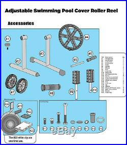 Swimming Pool Cover Reel 21' FT Aluminum Inground Solar Cover With Thermometer